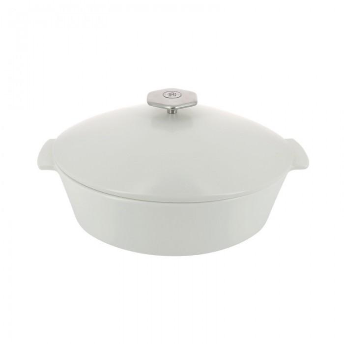 Cocotte Revol ovale avec couvercle porcelaine blanche