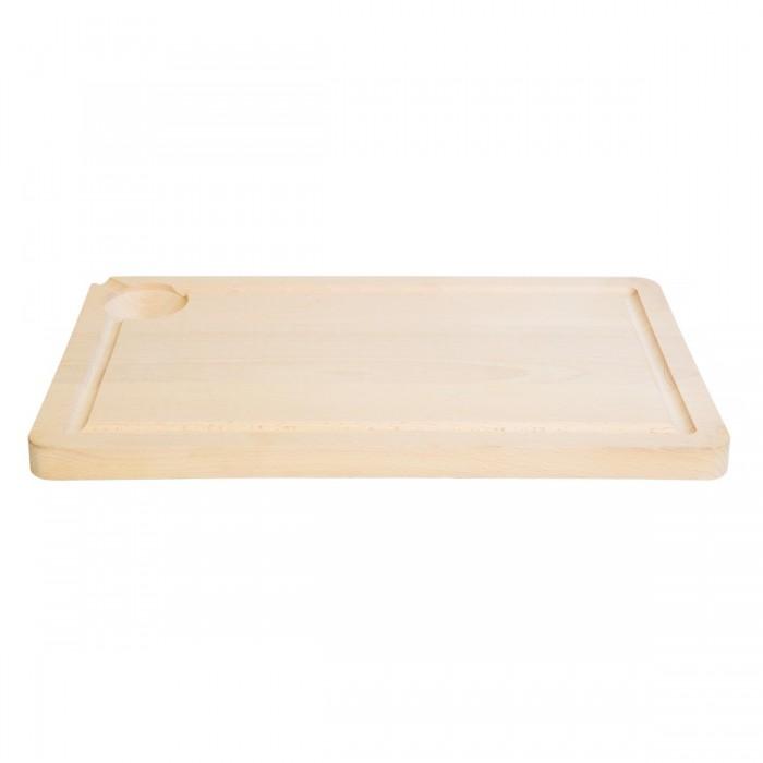 Planche à découper avec rigole en bois Nature (40 x 24 cm)