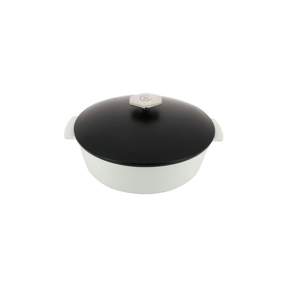 Cocotte Revol ronde blanche avec couvercle noir (2