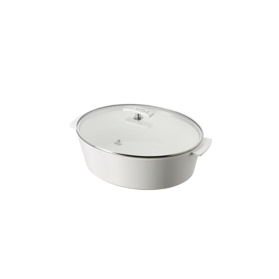 Cocotte Revol ovale blanche avec couvercle en verre (3