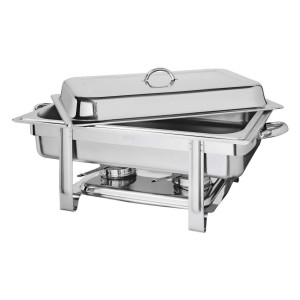 Chafing dish inox avec couvercle amovible (avec 2 gels 200g)