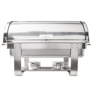 Chafing dish Roll Top inox avec couvercle coulissant (avec 2 gels 200g)