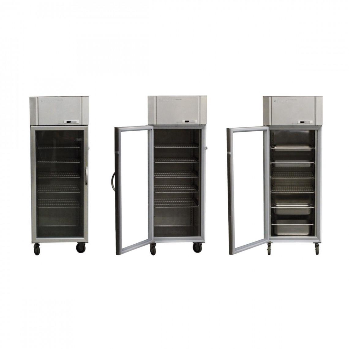 Réfrigérateur inox porte vitrée pour bac gastro (sans grilles)