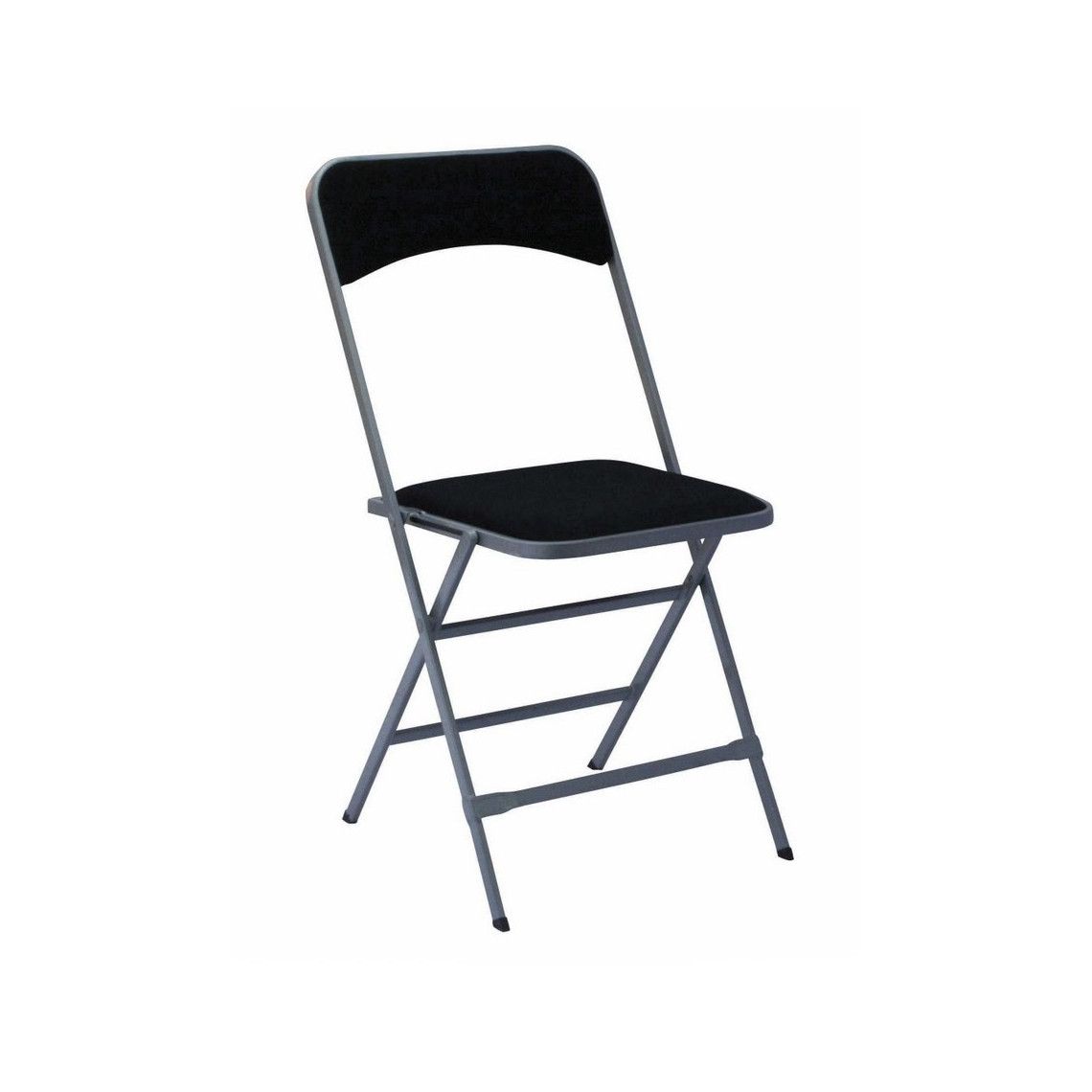 Chaise pliante gris argent/velours noir (M1)