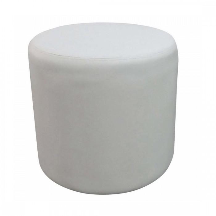 Pouf Cosy rond simili cuir blanc (Ø50 cm)
