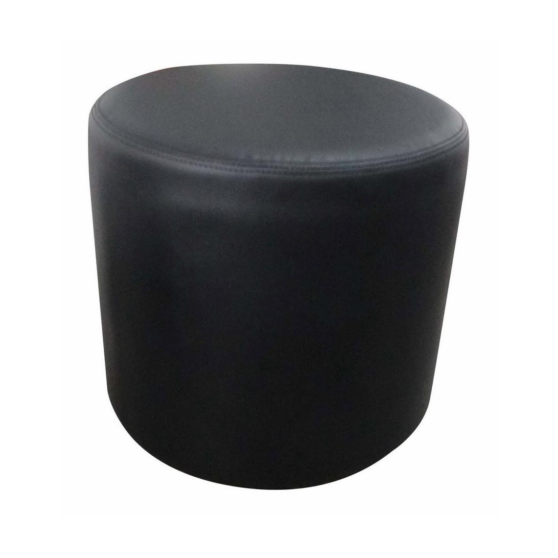 Pouf Cosy rond simili cuir noir (Ø50 cm)