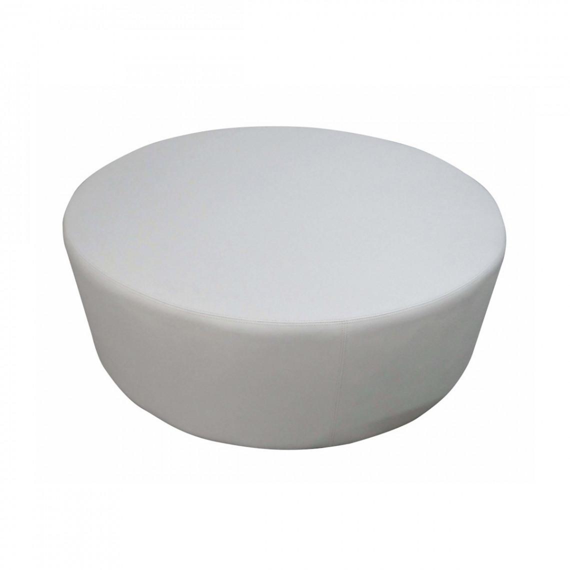 Pouf Cosy rond simili cuir blanc (Ø120 cm)