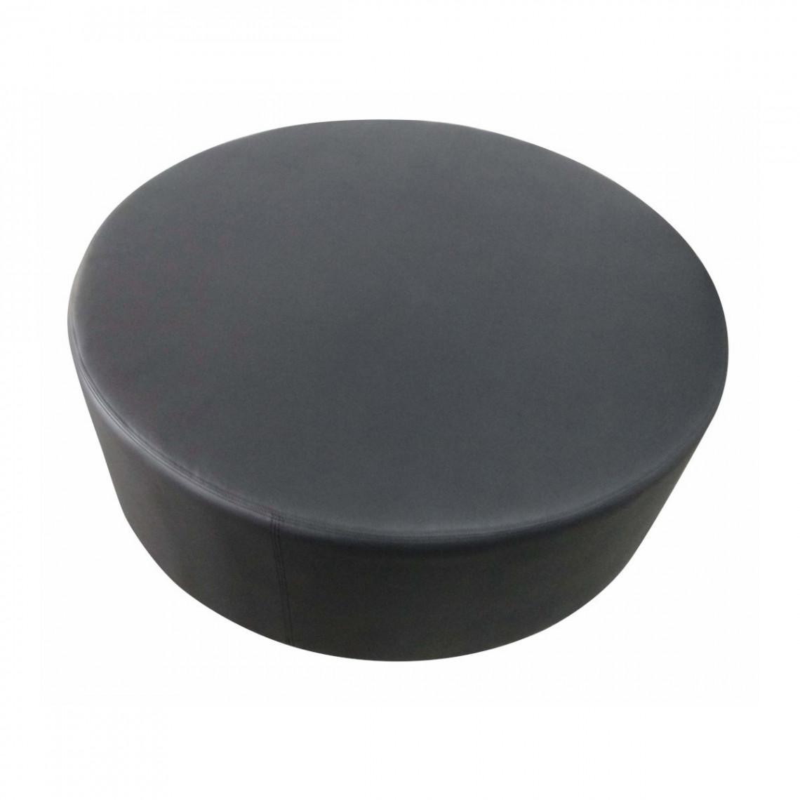Pouf Cosy carré simili cuir noir (Ø120 cm)