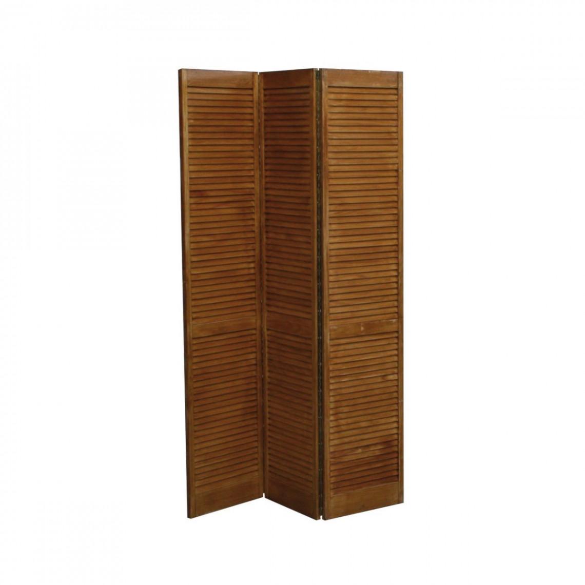 Paravent bois chêne foncé